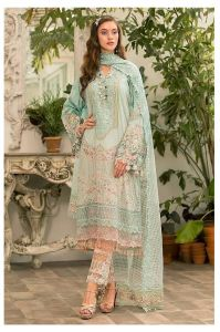 Lawn Cotton Aqua Blue Pakistani Suit