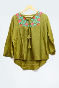 Cotton Mehndi Embroidered Top