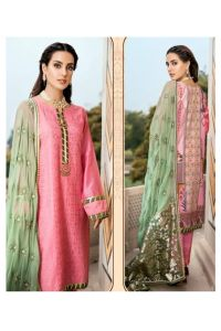 Lawn Cotton Pink Green Work Pakistani Suit
