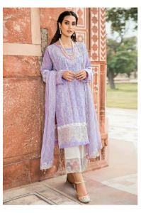Lawn Cotton Purple Karachi Work Pakistani Suit