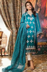 Lawn Cotton Sea Green Karachi Work Pakistani Suit