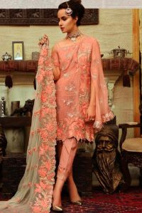 Pakistani Orange Embroidered Party Wear Suit