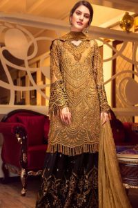 Pakistani Golden Embroidered Party Wear Suit