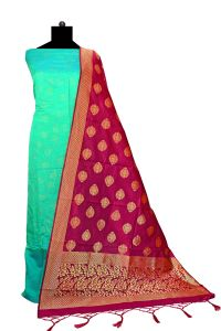 Bhagalpuri Silk Green Maroon Suit With Bansari Dupatta