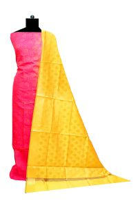 Bhagalpuri Silk Magenta Yellow Suit With Bansari Dupatta