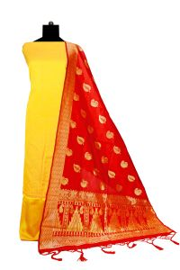 Bhagalpuri Silk Yellow Maroon Suit With Bansari Dupatta