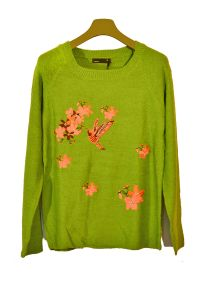 eWools Women Ladies Girls Green Winter Wear Woolen Embroidered Top Cardigans Sweaters