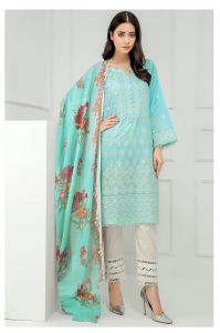 Pakistani Aqua Blue Krachi Work Suit With Dupatta