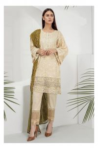 Pakistani Beige Green Embroidered Suit With Dupatta