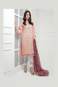 Pakistani Pink Krachi Embroidered Suit With Printed Dupatta