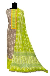 Cotton Grey Green Suit With Cotton Dupatta