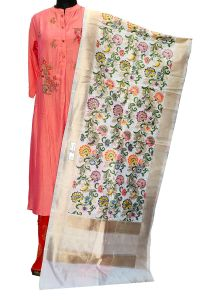 White Multi Color Banarasi Booti Work Stole