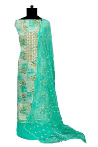 Green Embroidered Cotton Dabka Work Suit With Chiffon Embroidered Dupatta