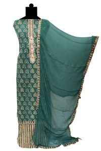 Green Embroidered Cotton Kalamkari Work Suit With Chiffon Dupatta