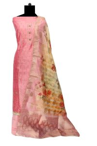 Magenta Siroski Embroidered Maheshwari Work Suit With Kota Work Dupatta