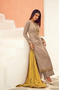 Silk Embroidered Suit With Viscose Work Dupatta