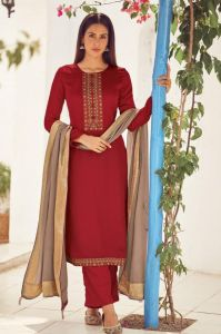Silk Maroon Embroidered Suit With Viscose Work Dupatta