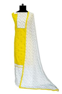 Yellow White Cotton Suit With Cotton Dupatta