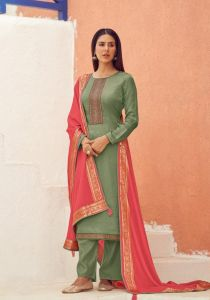 Silk Olive Green Embroidered Suit With Viscose Work Dupatta