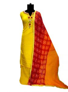 Silk Yellow Handwork Suit with Silk Bandhani Dupatta