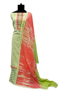 Cotton Green Embroidered Suit with Cotton Dupatta
