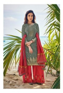 Cotton Mehndi Red Meenakari Embroidered Suit With Cotton Dupatta
