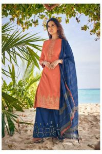 Cotton Orange Blue Meenakari Embroidered Suit With Cotton Dupatta