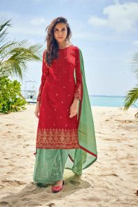 Cotton Red Meenakari Embroidered Suit With Cotton Dupatta