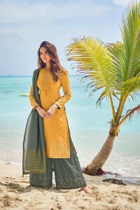 Cotton Yellow Green Meenakari Embroidered Suit With Cotton Dupatta