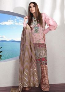 Pakistani Lawn Cotton Pink Krachi Embroidered Suit With Baraso Printed Tussle Dupatta