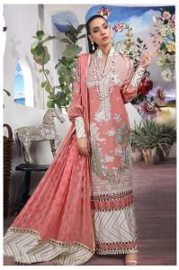Pakistani Lawn Cotton Peach Krachi Embroidered Suit With Baraso Printed Tussle Dupatta