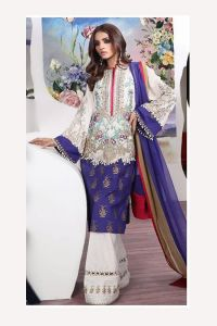 Pakistani Lawn Cotton Blue Beige Krachi Embroidered Suit With Baraso Printed Tussle Dupatta