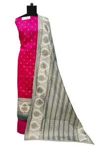 Magenta Khadi Work Cotton Suit With Khadi Work Cotton Dupatta