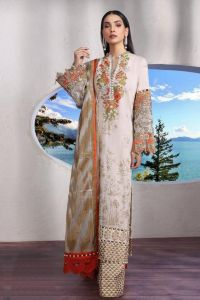 Pakistani Lawn Cotton Beige Orange Krachi Embroidered Suit With Baraso Printed Tussle Dupatta