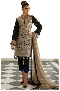 Pakistani Black Karachi Embroidered Georgette Suit With Embroidered Net Dupatta