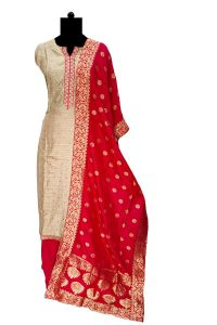 Golden Silk Embroidered Suit With Banarasi Silk Stole