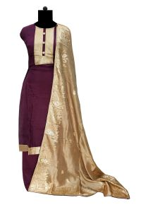 Silk Purple Patch Work Suit With Banarasi Silk Work Chiffon Dupatta