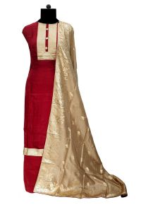 Silk Maroon Patch Work Suit With Banarasi Silk Work Chiffon Dupatta