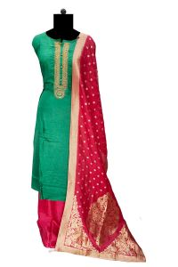 Leaf Green Silk Handwork Suit With Banarasi Silk Stole