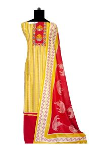 Cotton Yellow Red Emberoidered Suit With Cotton Dupatta