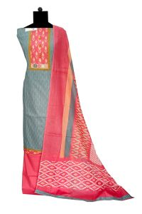 Grey Magenta Cotton Suit With Cotton Dupatta