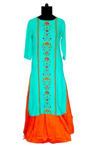 Green Khadi Work Printed Emberoidered Kurta