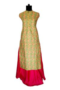 Green Orange Khadi Work Printed Embroidered Kurta