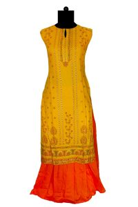 Yellow Khadi Work Printed Kurta