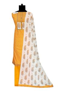 Orange White Cotton Suit With Cotton Dupatta