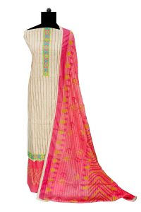 Cotton Beige Magenta Stripped Embroidered Suit With Cotton Dupatta