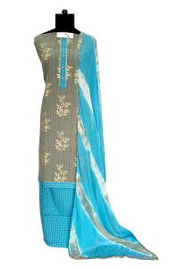 Grey Blue Cotton Suit With Cotton Dupatta