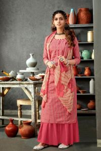 Pure Cotton White Pink Grey Striped Suit With Chiffon Dupatta
