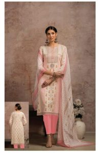 Pure Cotton White Pink Karachi Suit With Chiffon Dupatta