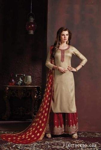 Cotton Beige Red Embroidered Sharara Suit